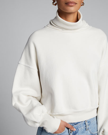 Balloon-Sleeve Turtleneck Cotton Sweatshirt