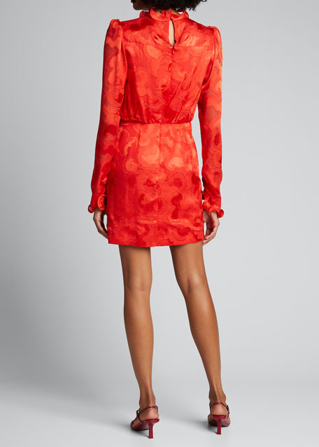 Rina B Long-Sleeve High-Neck Cocktail Dress