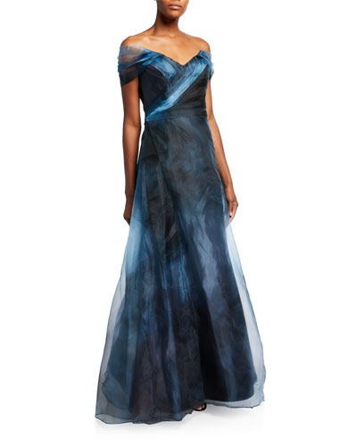 Off-the-Shoulder Ombre A-Line Gown