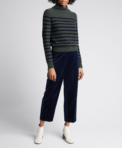 Breton Stripe Cashmere Turtleneck Sweater