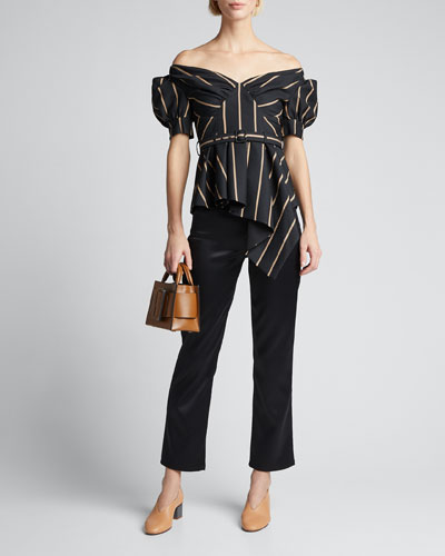 Off-Shoulder Tailored Striped Top