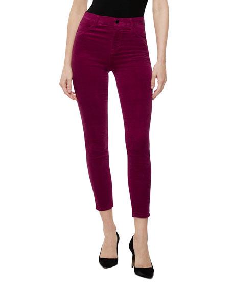 Alana High-Rise Crop Velvet Skinny Jeans
