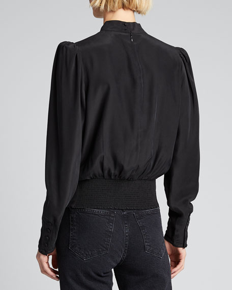 Luxe Keyhole-Front Long-Sleeve Top