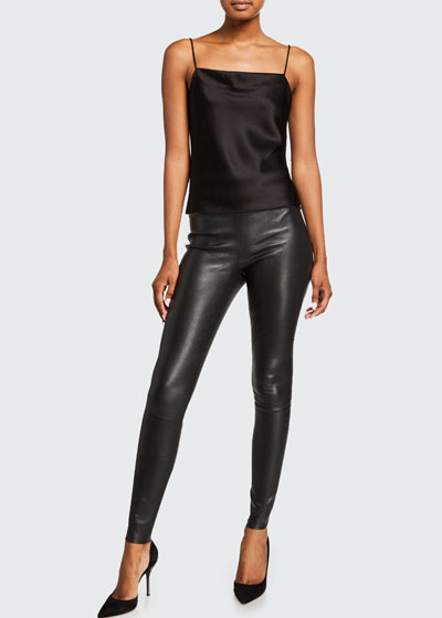 Maddox Leather High-Waist Side Zip Leggings