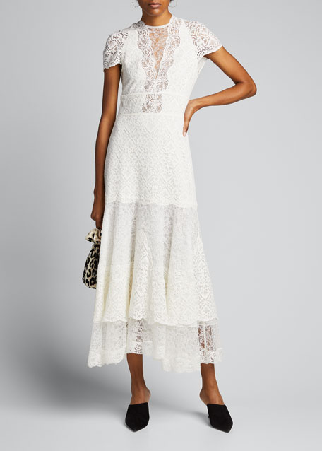 Image 1 of 1: Multimedia Lace Tiered Midi Dress
