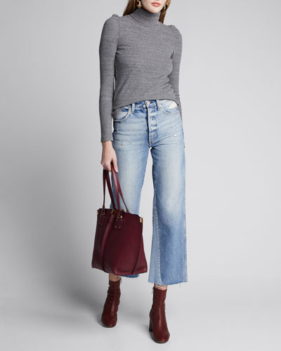 Puff-Sleeve Turtleneck Top
