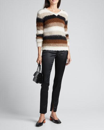 Skinny Satin Leggings w/ Zipper Cuff