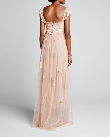 Irene Floral Tulle Cap-Sleeve Dress