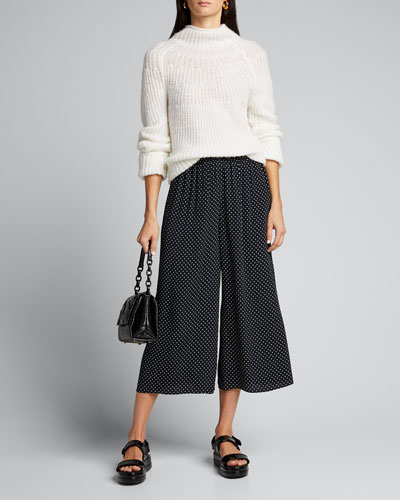 Polka Dot Fluid Pull-On Crepe Pants