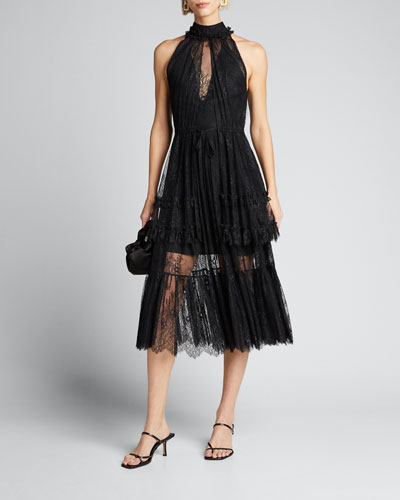 Magdalina Pleated Lace Halter Cocktail Dress