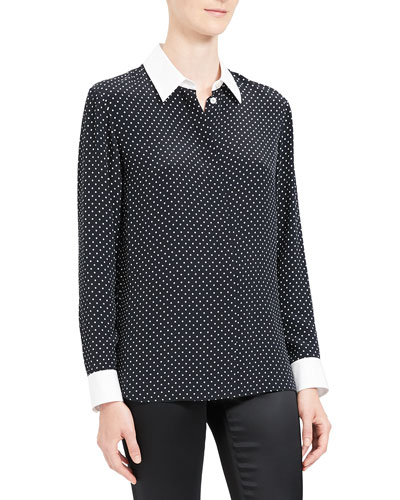 Polka Dot Combo Stretch Crepe Shirt