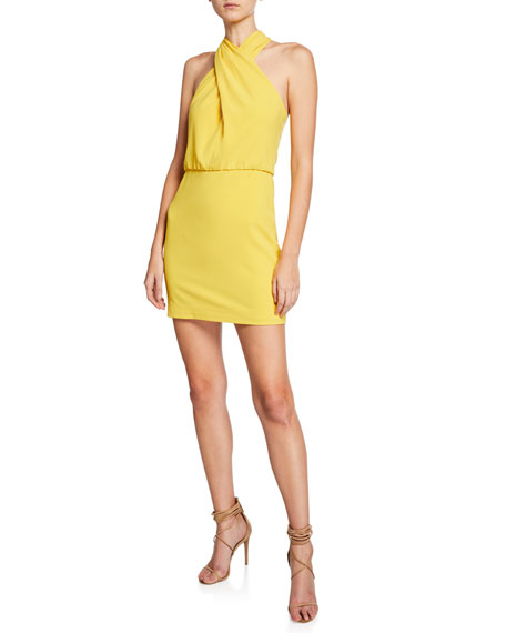 Image 1 of 1: Sleeveless Wrap-Neck Fitted Dress