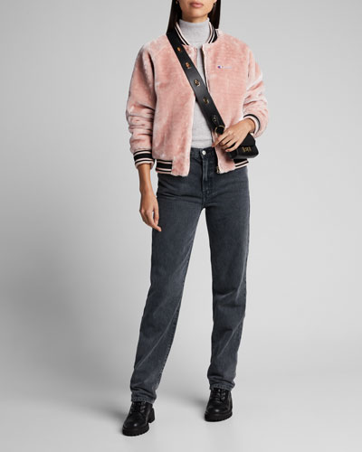 Zip-Front Faux-Fur Bomber Jacket