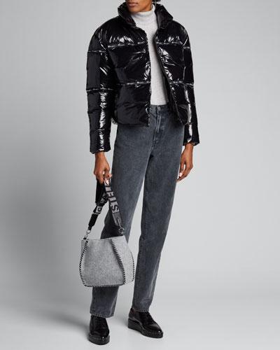 Shiny Zip-Front Puffer Jacket