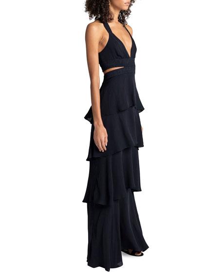 Lita Tiered Silk V-Neck Maxi Dress