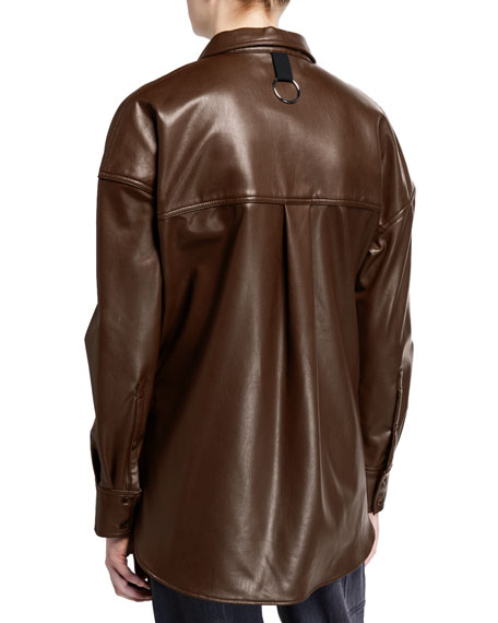 Faux-Leather Relaxed Utility Blouse