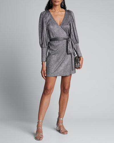 Frankie Metallic Long-Sleeve Wrap Dress