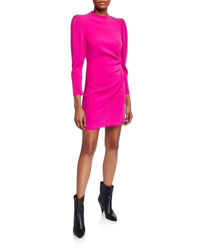 Jane Side-Ruched Long-Sleeve Dress