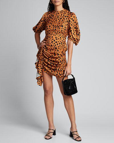 Pia Dot-Print Ruched Balloon-Sleeve Dress