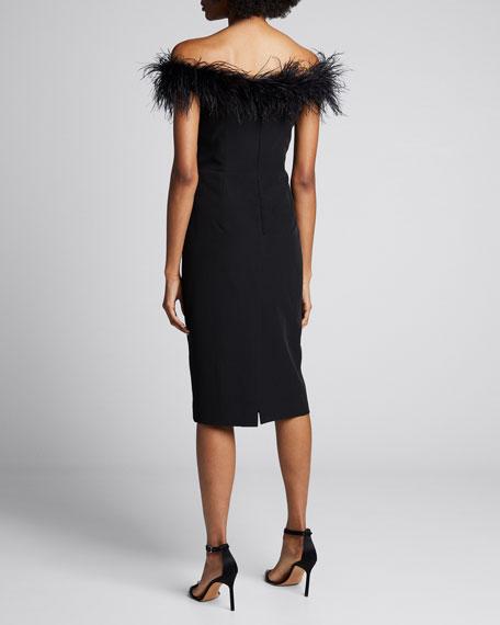 Off-the-Shoulder Feather Bodice Cady Sheath Dress