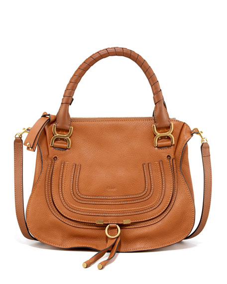 Chloe Marcie Medium Satchel Bag, Tan