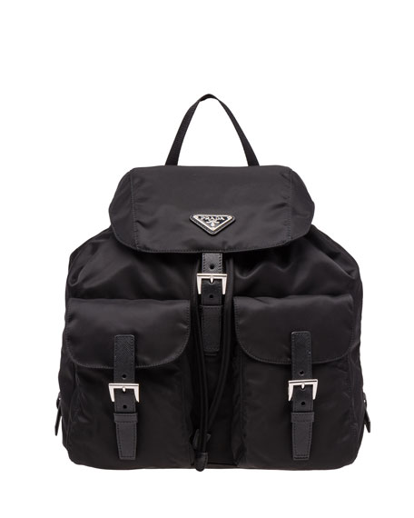Prada Vela Large Two-Pocket Backpack, Black (Nero)