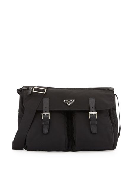 Vela Buckled Messenger Bag, Black (Nero)
