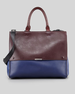 Victoria Beckham Soft Colorblock Calfskin Tote Bag, Oxblood/Blue