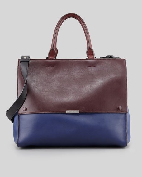 Soft Colorblock Calfskin Tote Bag, Oxblood/Blue