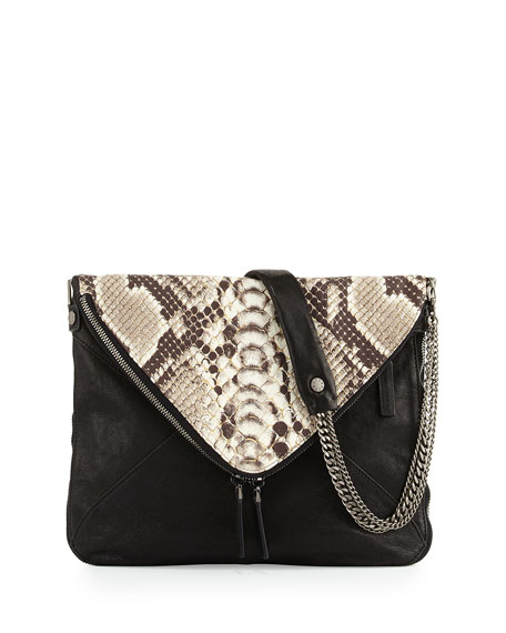 Slash Printed Python-Embossed Envelope Bag, Black