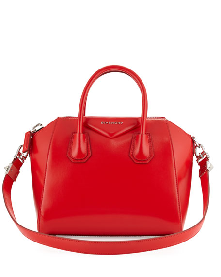 Antigona Small Leather Satchel Bag, Red
