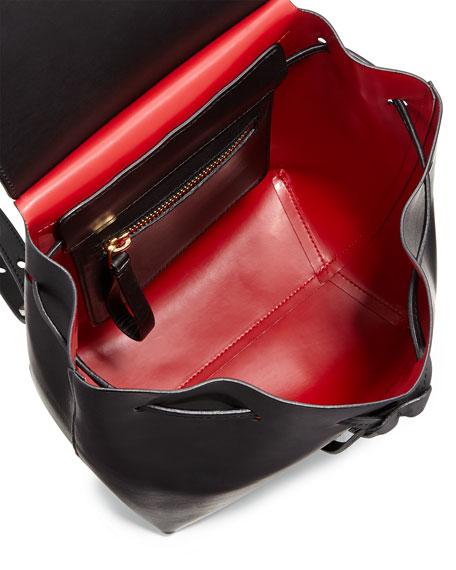 Mansur Gavriel Mini Coated Leather Backpack Black Flame