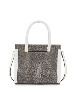Capri Stingray & Vitello Bag, Silver/White