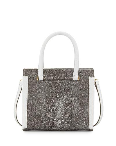 Capri Stingray & Vitello Bag, Silver/White