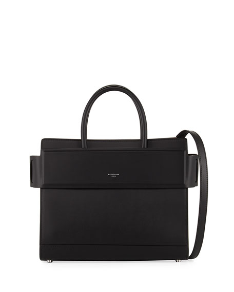 Horizon Small Smooth Leather Satchel Bag w/Contrast Lining