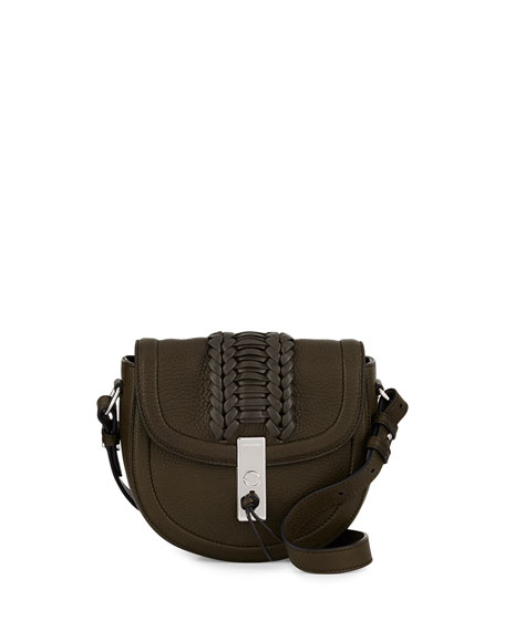 Altuzarra Ghianda Woven Leather Saddle Mini Bag, Olive