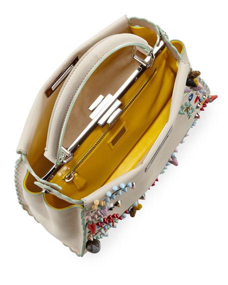Peekaboo Medium Floral-Embroidered Satchel Bag, Tan