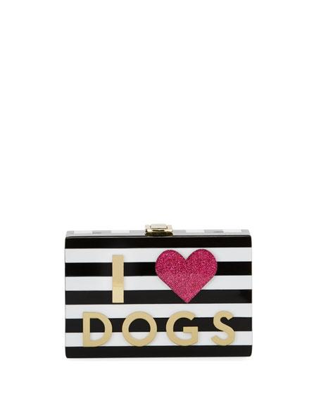 Girls' Striped Hardshell Clutch Bag, Black/White