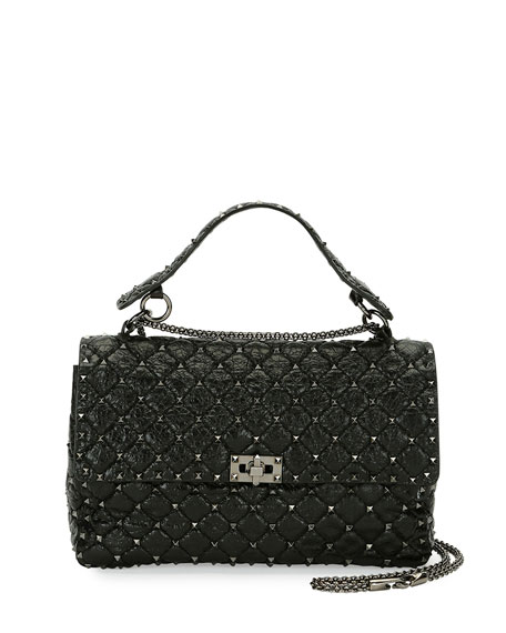 Valentino Rockstud Large Quilted Shoulder Bag, Black