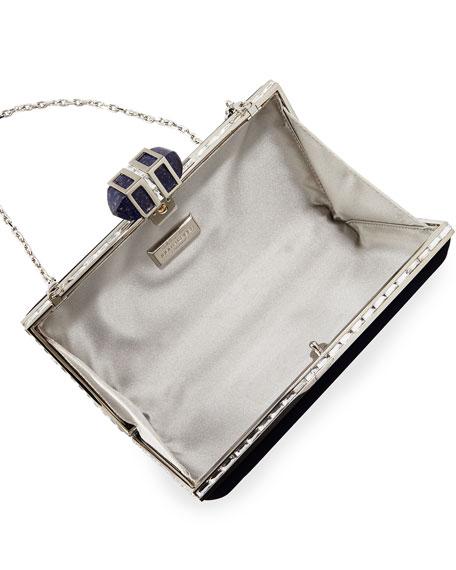 Velvet Coffered Rectangle Box Clutch Bag