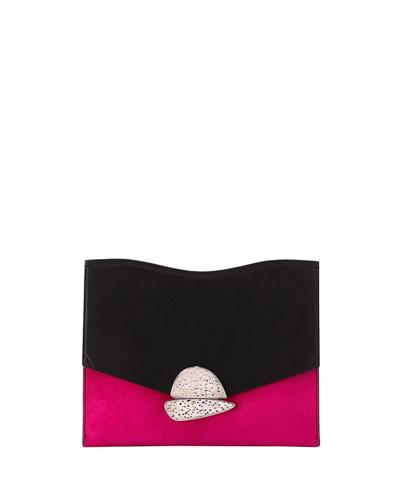 Curl Medium Two-Tone Clutch Bag, Black/Pink