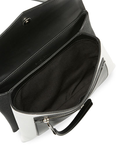 Duetto Leather Crossbody Bag, Black/White