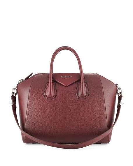 Antigona Medium Leather Satchel Bag, Red