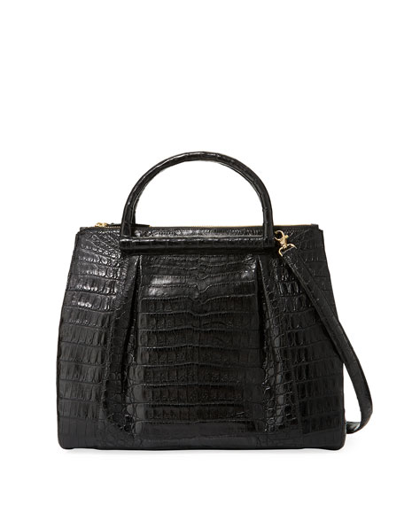Large Nix Crocodile Double Zip Tote