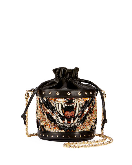 Renaissance Tiger Party Chain Bucket Bag, Black