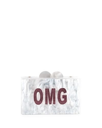 Girls' OMG/LOL Glittered Acrylic Box Clutch Bag