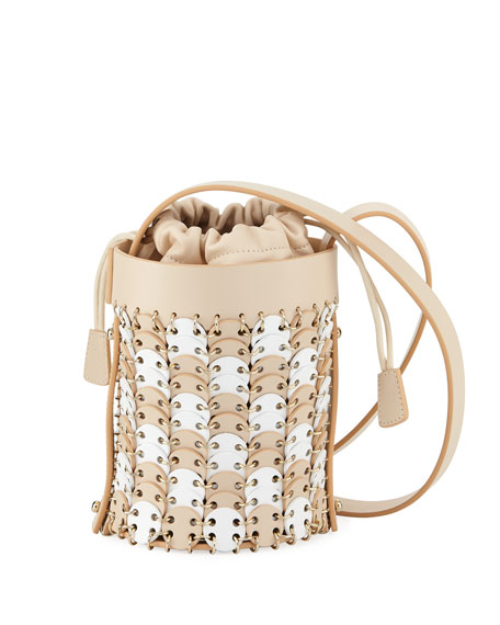 Iconic Mini Bicolor Bucket Bag in Nude