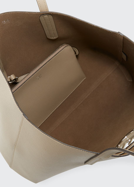 85529ba132 Fendi F Logo Calf Leather Shopping Tote Bag