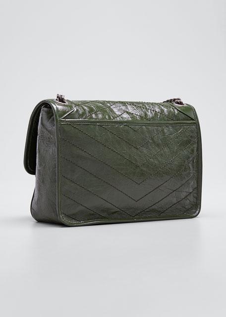 Niki Medium Shiny Waxy Quilted Shoulder Bag