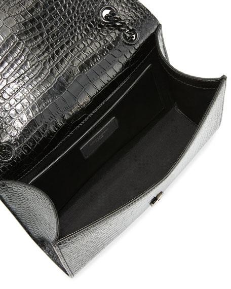 V Flap Medium Shiny Croc-Embossed Envelope Shoulder Bag